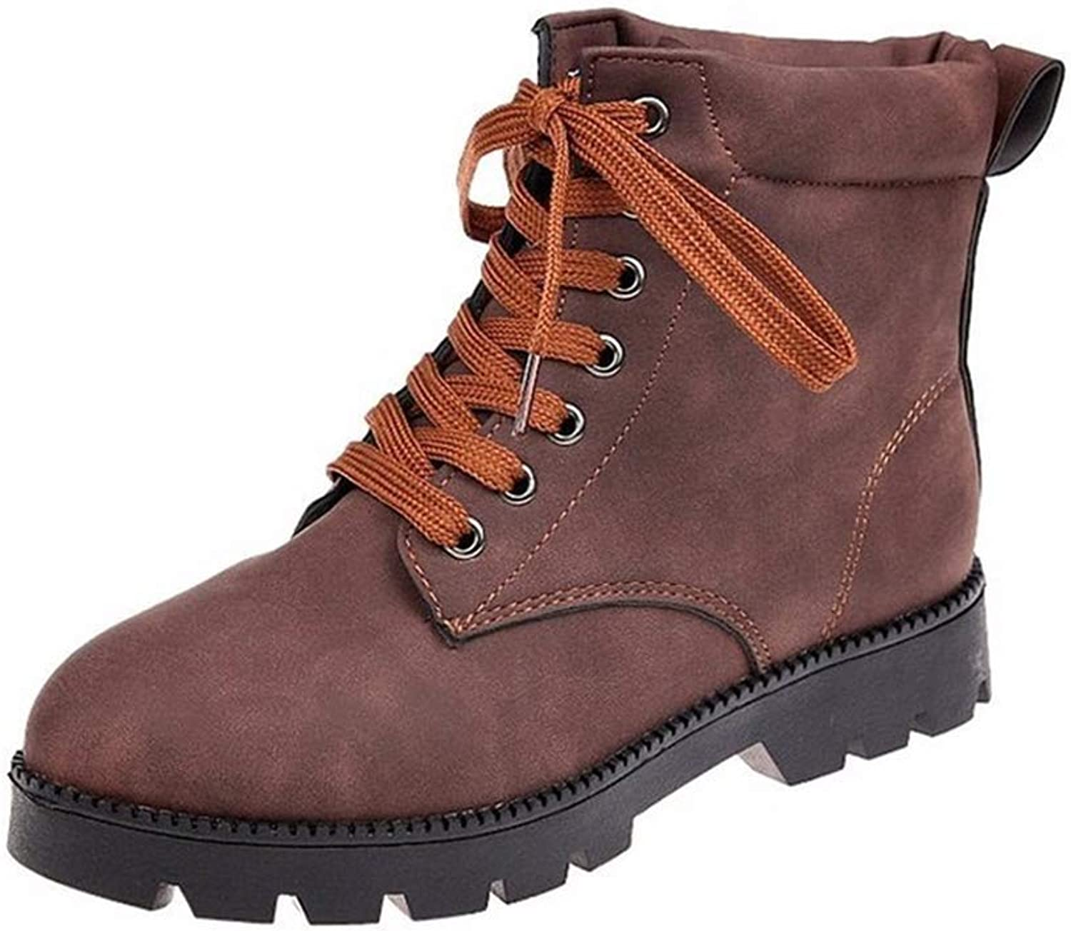 HILIB Woman Lace up Oxford Boots Autumn Winter Martin Combat Ankle Boots