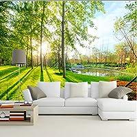 Wkxzz 壁の背景装飾画 自然の風景サンシャインフォレスト壁画ステッカーリビングルーム寝室の装飾壁画-200X140Cm