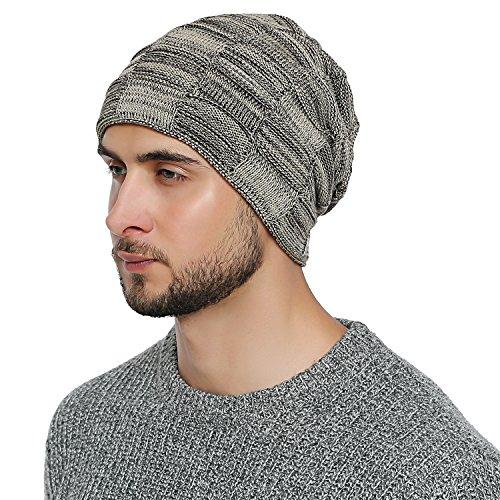 DonDon Herren Winter Long Beanie sehr warme und weiche Mütze mit Teddyfleece beige schwarz