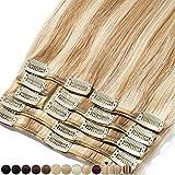 8'-24' Extension a Clip Cheveux Naturel Rajout 100% Vrai Cheveux Humain Remy - Volume Moyen 8 Pcs (#12+613 Marron clair Méché Blond très clair, 25cm-70g)