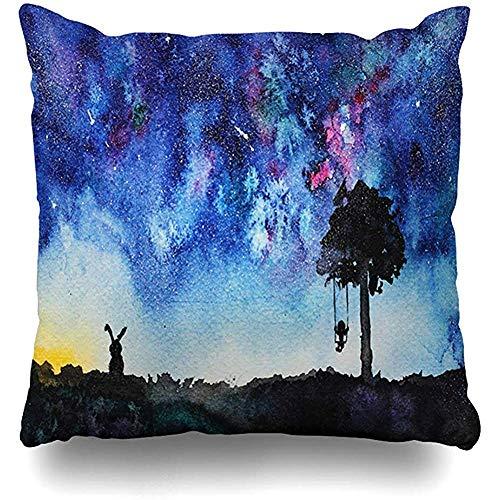 Aoyutiy Decoratieve kussenslopen penseel sterrennacht schommelen aan boom hand park aquarel haas kind kindertijd komet kussensloop vierkant