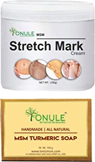 Ionule MSM Stretch Mark Cream with Turmeric Soap for Men and Women Combo Pack of 2 - (2 X 90 gm)
