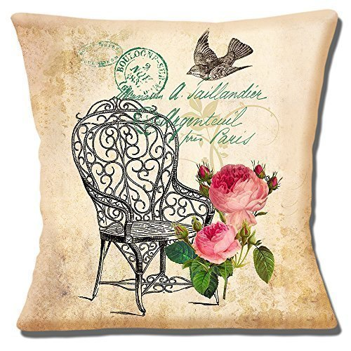 French Shabby Chic Vintage Garden Chair Roses Bird - 16' (40cm) Pillow Cushion Cover
