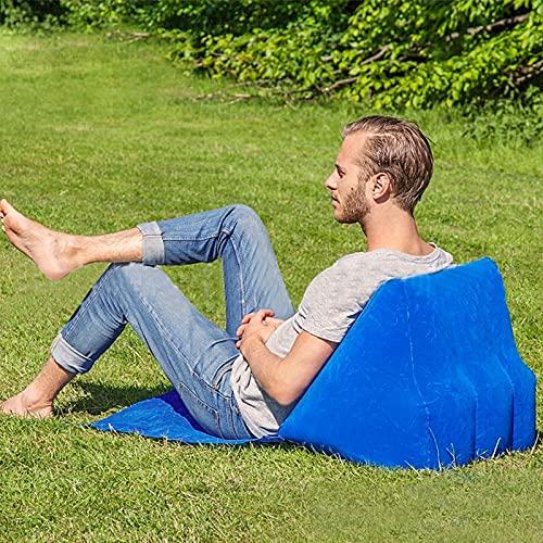Esterilla Playa con Respaldo,Acolchada Plegable con Cojín Inflable del Triángulo del PVC,Esterilla Playa Tumbona al Aire Libre,portátil,para Camping, Playa,Viajies (Azul)