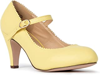 J. Adams Mary Jane Kitten Heels - Vintage Retro Scallop Round Toe Shoe with an Adjustable Strap - Honey