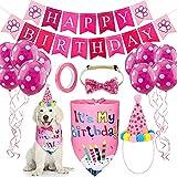 Bufanda de Cumpleaños para Perro, Set de Sombrero Bandana de Cumpleaños de Perro Globo para Mascotas Regalo Set Pañuelo para Perro Set de Cumpleaños para Mascotas