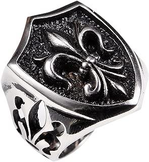 Stainless Steel Gothic Fleur De Lis Loyal Black Vintage Biker Ring