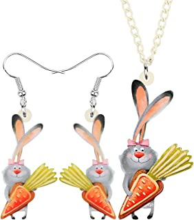 WEVENI Acrylic Easter Carrot Bunny Hare Jewelry Set Rabbit Earrings Necklace Pendant Gifts for Women Girls Ladies
