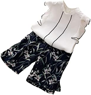 Weixinbuy Baby Girls Outfits Casual Ruffle Sleeve Chiffon Vest T-Shirt Tops + Floral Pants Summer Clothes Set
