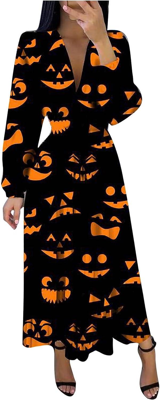 CANDITY Funny Print Dress for Women V Neck Long Sleeve Maxi Dress Halloween Dress Women Fashion Ruffle Dress