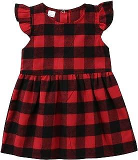 Toddler Kids Baby Girl Ruffle Sleeveless Cotton Plaids Casual Dresses Summer