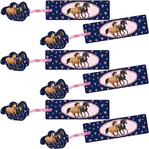 Lutz Mauder 6 Glitter-Lesezeichen * Pferde * mit Kordel und Anhänger Geschenk Bücher Buch Kinder Lesen Mitgebsel Reiten Pferd Mädchen Glitzer