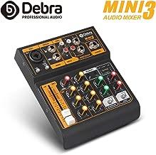 Debra Audio MINI 4-channel portable audio mixer DJ music console with XLR with 48V phantom power for Home Studio Recording DJ Network Live Broadcast Karaoke
