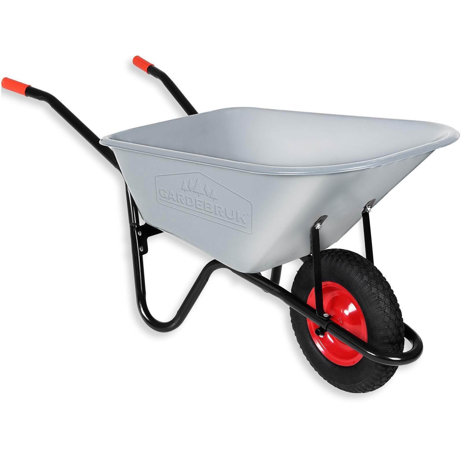 Gardebruk - Carretilla de jardín, 100 litros, 250 kg, neumáticos de aire con llanta de acero, bañera galvanizada: Amazon.es: Bricolaje y herramientas