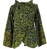 GURU SHOP Cape, Wickeljacke Chic, Damen, Schwarz/grün, Synthetisch, Size:XL, Boho Jacken, Westen Alternative Bekleidung