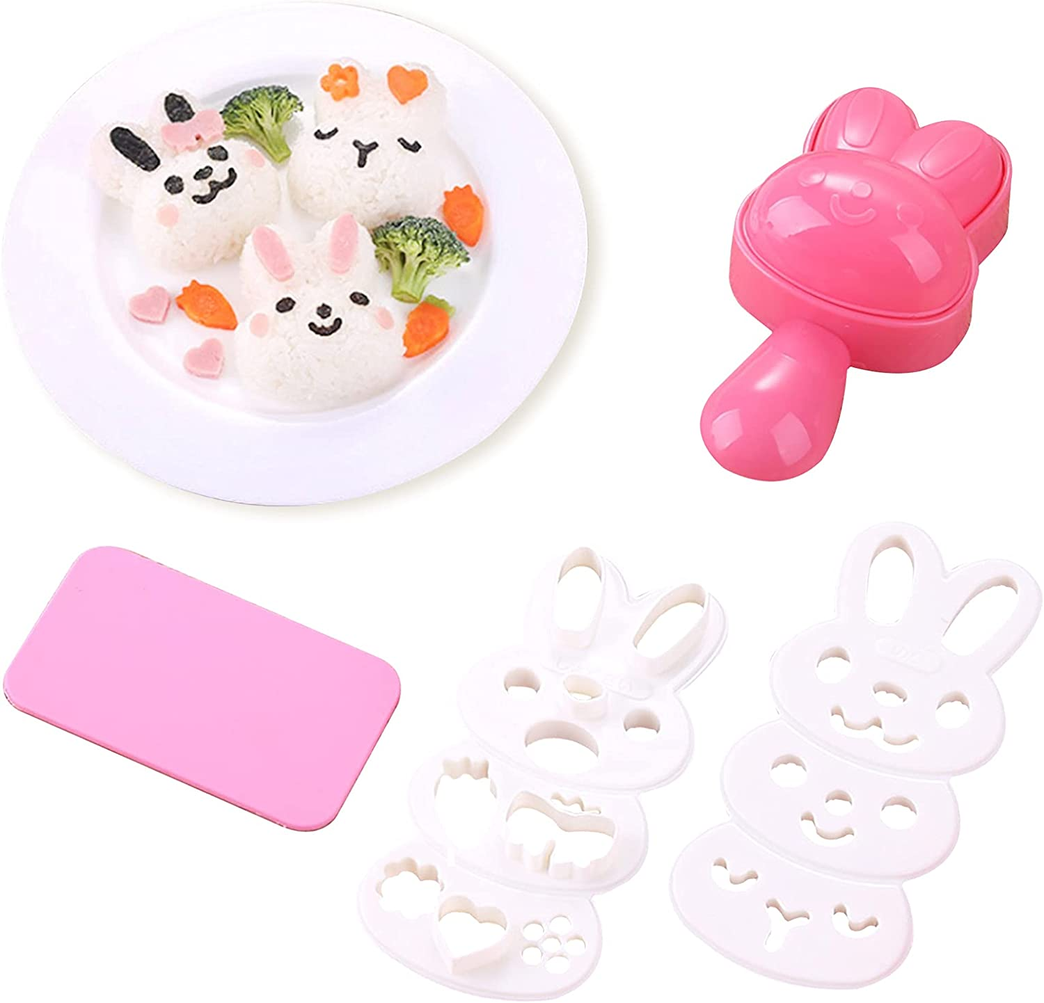 Rice Ball Molds for Kids Cute Rabbit Pattern Sushi Mold Rice Shaper Onigiri Mold Bento Accessories DIY Kitchen Tools with Nori Seaweed Punch Cutter