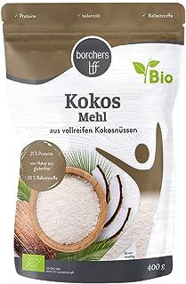 borchers Bio Premium Kokosmehl, zum Kochen und Backen, Ballaststoffreich, Proteinquelle, Weizenfrei, Entölt, Vegan 400 g