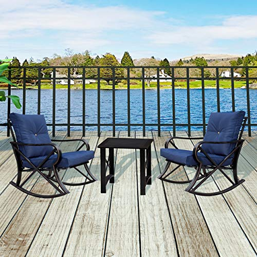 LOKATSE HOME 3 Piece Patio Outdoor Rocking Chair Bistro Sets with Coffee Table, Blue