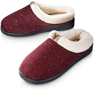 Pupeez 女孩舒适保暖毛衣针织拖鞋;豪华风格儿童房鞋,带橡胶鞋底 葡萄*色 11 M US 儿童