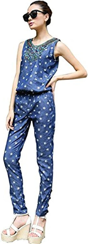 Unomatch Women's Casual Printed Piece Pants bluee Denim Jumpsuit Trousers