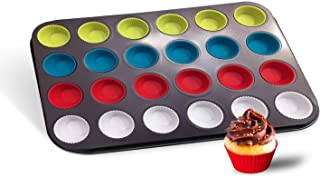 Baketivity 24 Cups Muffin Pan with Multicolor Silicone Cupcake Liners - Premium Non-Stick Carbon Steel Cupcake Pan for Mak...