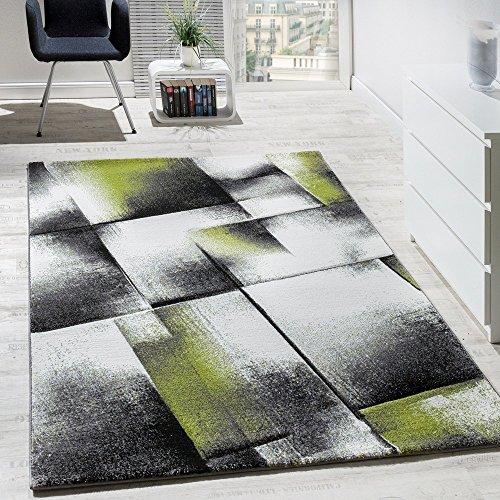 Paco Home Designer Teppich Wohnzimmer Teppiche Kurzflor Meliert Grün Grau Creme Schwarz, Grösse:60x100 cm
