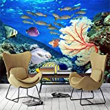 Grandes murales de mundo submarino personalizados vida marina coral peces de aguas profundas tema acuario fondo decorativo revestimiento de paredes
