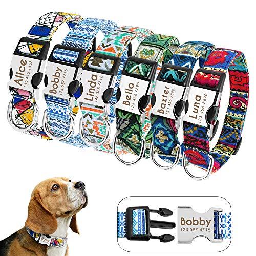Didog - Collares personalizados para perros con hebilla de liberación rápida grabada, diseños modernos, para perros pequeños, medianos y...