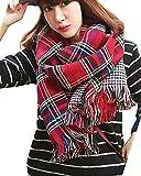 Minetom Mujer Otoño Invierno Moda Tartán Patrón Bufanda Pata De Gallo Reversible Bufanda Chales Estolas Rojo One Size