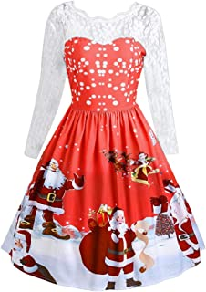 Womens Christmas Knee-Length Dresses, Women Long Sleeve Lace Patchwork Printing Vintage Gown Party Dress