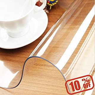 Clear Plastic Table Cover Protector - Rectangular Vinyl Roll for use as Kitchen Dining Room Table Cloth, Desk Pad, Kitchen and Floor Mat, Outdoor Party Tablecloth, Picnic Mat, Carpet Cover (60