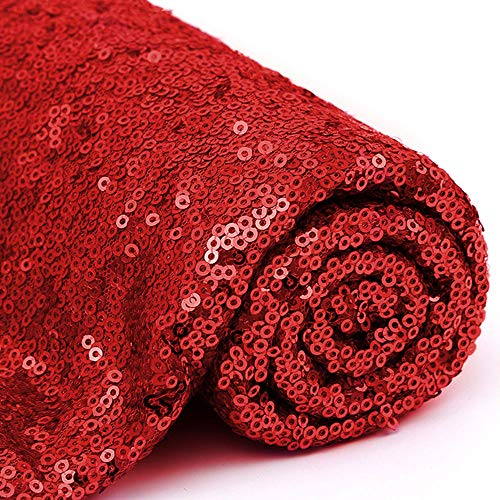3 Feet 1 Yards Red Sequin Fabric Decorative Linen for Tablecloth Table Runner Photo Booth Backdrops