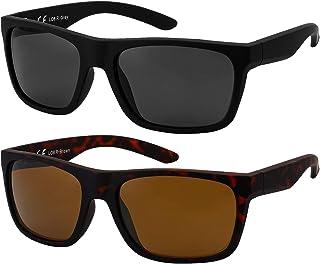 La Optica B.L.M. - La Optica Gafas de Sol LO8 UV400 Deportivas da Hombre y Mujer, Goma Negro (Lentes: 1 x Gris, 1 x marroné)