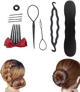 10pcs DIY Hair Braiding Sponge Donut Bun Fluffy Pads Spiral Hair Clip Hairpins Ponytail Twist Hairstyling Tools Set