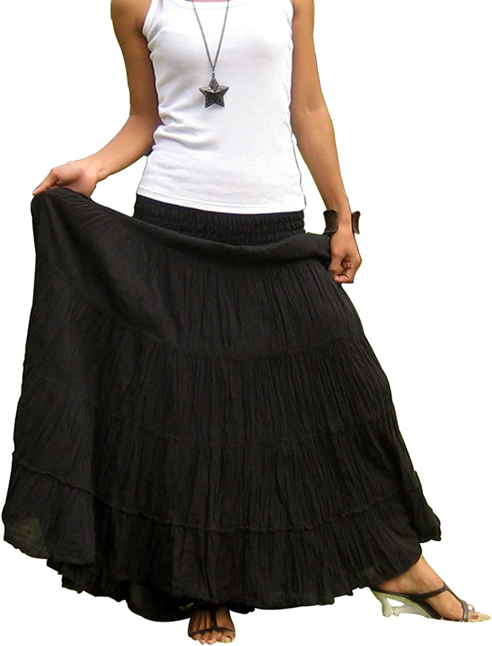 Billy's Thai Shop Plus Size Maxi Skirt Long Skirts for Women Handmade Tiered Skirt