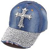 Song Qing Jean Snapback Hat Women Men Bling Cross Rhinestones Denim Baseball Cap Dark Blue