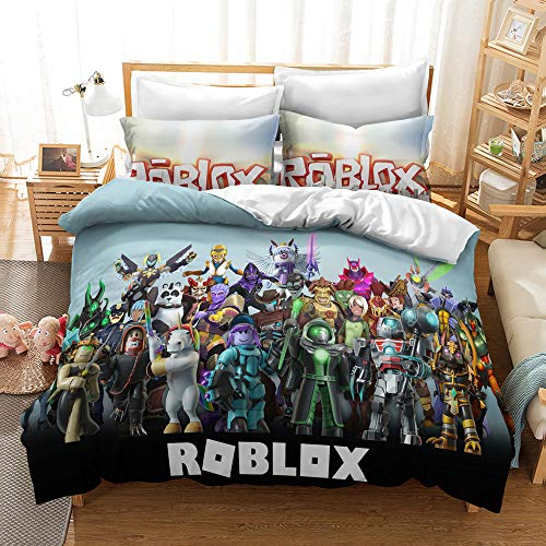 Elsdsnky 3 Pcs Duvet Cover Set with Two Pillow Cases Roblox Print Bedding Set Soft Microfiber Bedding Package Duvets and Pillowcases for Children Teens Adults (200x200 cm, 2x50x75 cm)