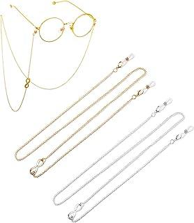 Women's Eyeglass Chains Stylish Gl Chain Face Cover Lanyard Necklace Eyewear Strap Retainer Holder for Women Men Kids, 2 P...