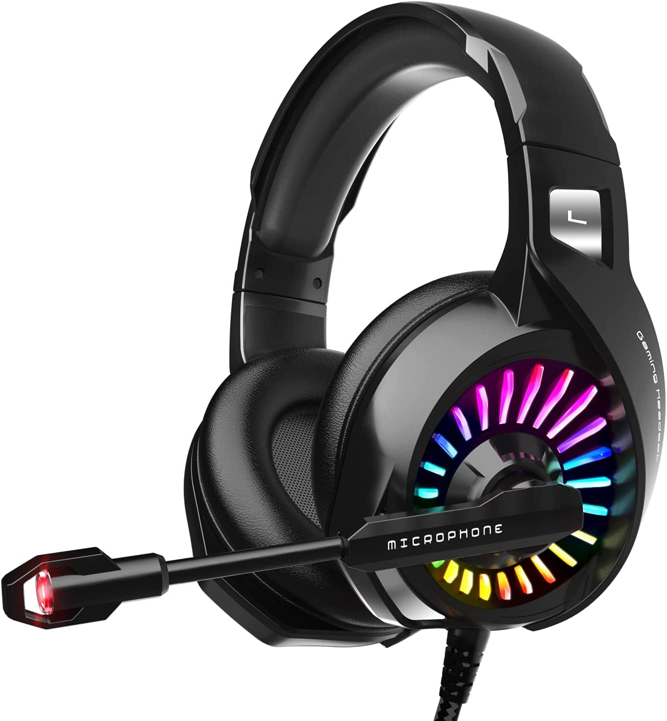 ZIUMIER Gaming Headset with Microphone, Compatible with PS4 PS5 Xbox One PC Laptop, Over-Ear Headphones with LED RGB Light, Noise Canceling Mic, 7.1 Stereo Surround Sound