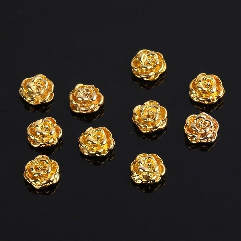 素晴らしい稼ぐ物理的にSODIAL(R) ゴールデンローズシェイプ  10枚  シルバー3D合金ネイルアートスライス  キラキラDIYデコレーション
