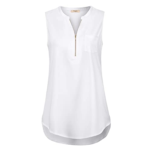 6c148a149cf1ed Timeson Women s Casual V Neck Sleeveless Tunics Blouses Chiffon Zipper Tank  Tops