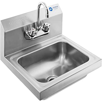 Amazon Com Gridmann Commercial Nsf Stainless Steel Sink Wall Mount Hand Washing Basin With Faucet Industrial Scientific