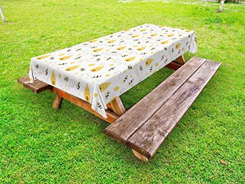 ABAKUHAUS Bij Tafelkleed voor Buitengebruik, Vliegende Bugs Hearts Bijenkorven, Decoratief Wasbaar Tafelkleed voor Picknicktafel, 58 x 104 cm, mosterd White