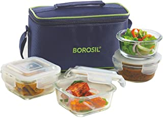Borosil Glass Universal Lunch Box Set of 4, (2pcs 320 ml sq. + 2pcs 240 ml Round) Microwave Safe Office Tiffin