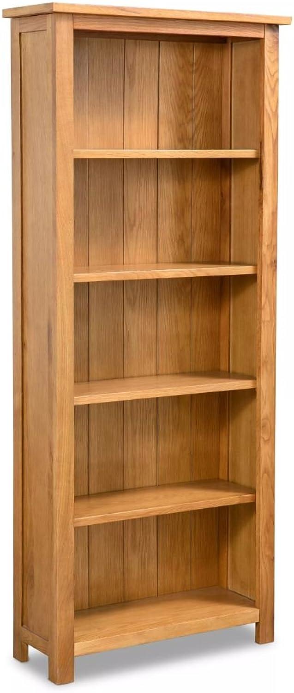 Bücherregal aus massivem Eichenholz, rustikales Design, mit 5 Ablagen
