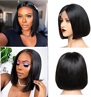 Short Bob Wigs 13x4 Lace Front Human Hair Wigs Pre Plucked with Baby Hair For Black Women 150% Density Brazilian Straight Lace Wig 8 Inch