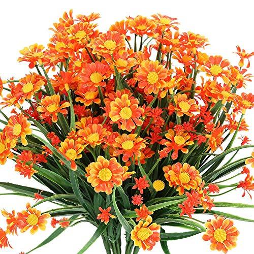 Msrlassn Künstliche Gänseblümchen Blumen,4 Stück Kunstblumen Grün Plastik Sträucher Unechte Blumen Innen Draussen Kunstblumen für Zuhause Garten Fenster Box Hängend Pflanzen Dekor (Orange)