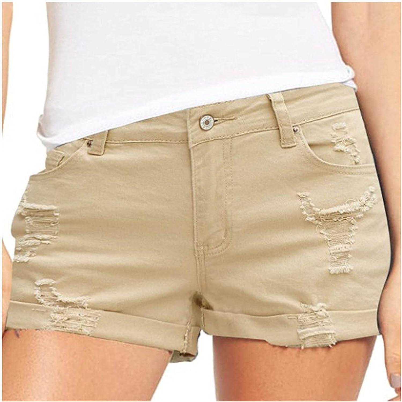 Lroveb Women's Summer Denim Shorts High Waisted Stretchy Jean Shorts Folded Hem Hot Jeans Casual Pockets Shorts