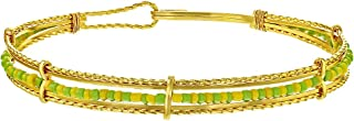 In Season Jewelry 14k Gold Plated Orula Babalawo Santeria Green Yellow Beads Bangle Bracelet