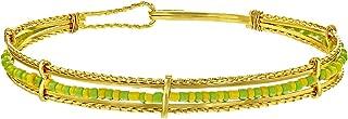 In Season Jewelry 14k Gold Plated Orula Babalawo Santeria Green Yellow Beads Bangle Bracelet